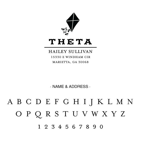 Kappa Alpha Theta College Panhellenic Sorority Chapter Name Return Address Custom Designer Stamp