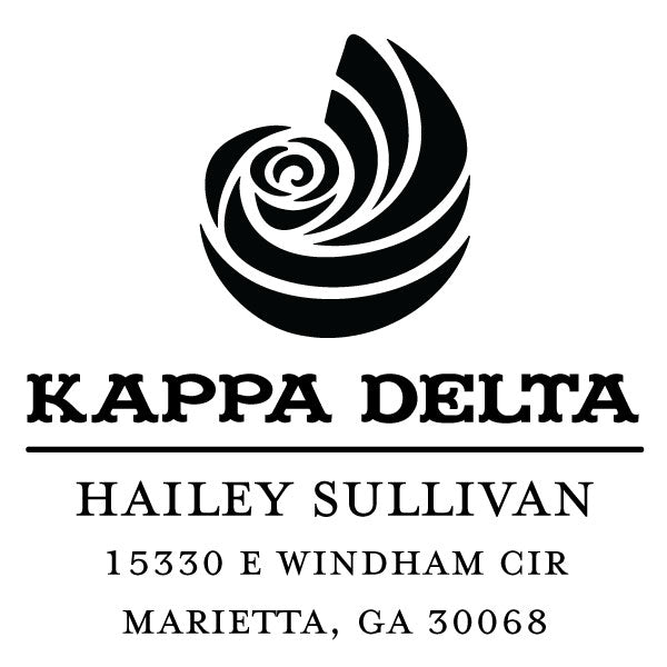 Kappa Delta College Panhellenic Sorority Chapter Name Return Address Custom Designer Stamp