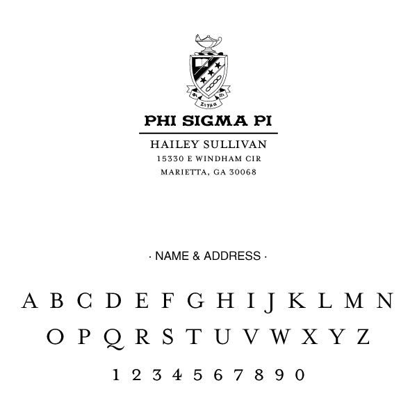 Phi Sigma Pi College Panhellenic Sorority Chapter Name Return Address Custom Designer Stamp