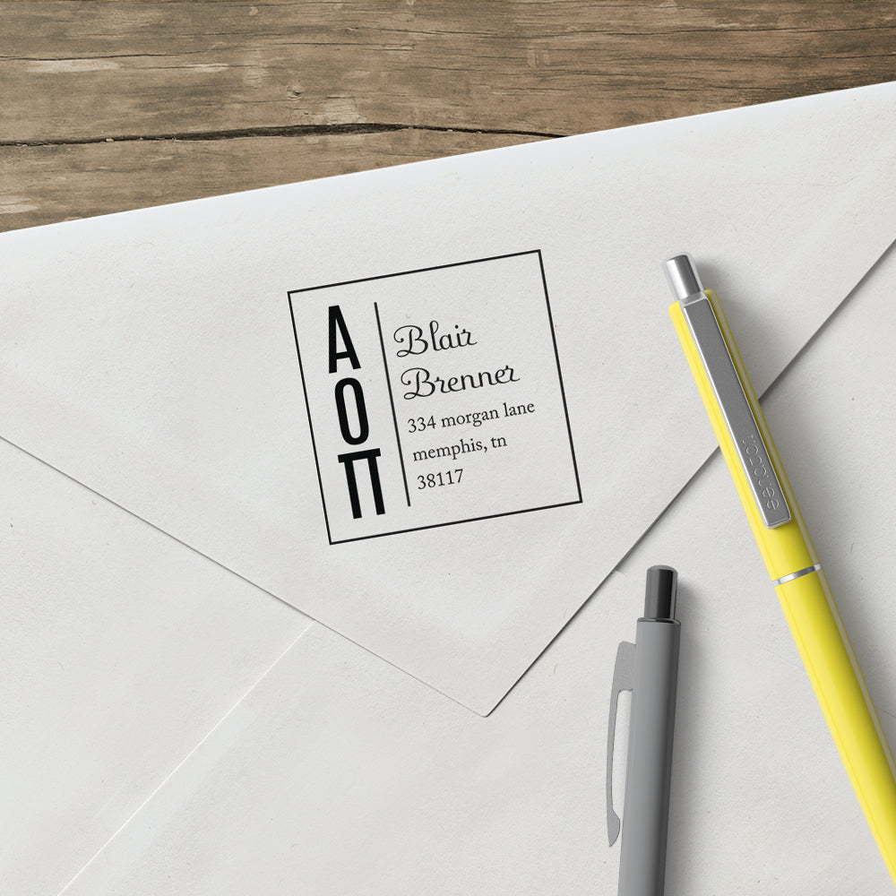 Alpha Omicron Pi Square Panhellenic Sorority Name Return Address Custom Designer Stamp