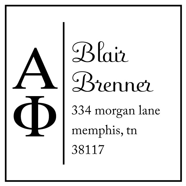 Alpha Phi Square Panhellenic Sorority Name Return Address Custom Designer Stamp