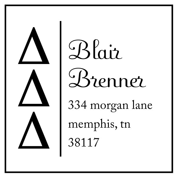 Delta Delta Delta Square Panhellenic Sorority Name Return Address Custom Designer Stamp