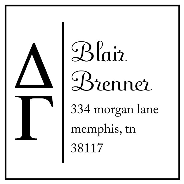 Delta Gamma Square Panhellenic Sorority Name Return Address Custom Designer Stamp