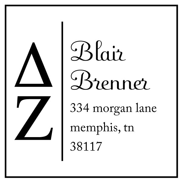 Delta Zeta Square Panhellenic Sorority Name Return Address Custom Designer Stamp
