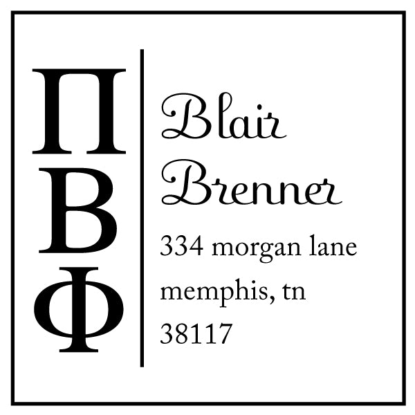 Pi Beta Phi Square Panhellenic Sorority Name Return Address Custom Designer Stamp