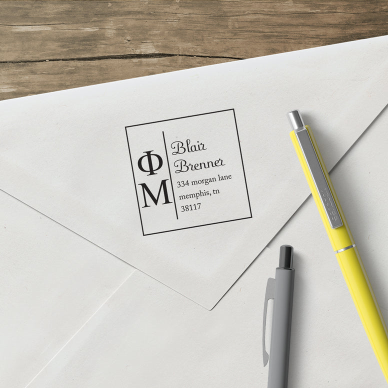 Phi Mu Square Panhellenic Sorority Name Return Address Custom Designer Stamp