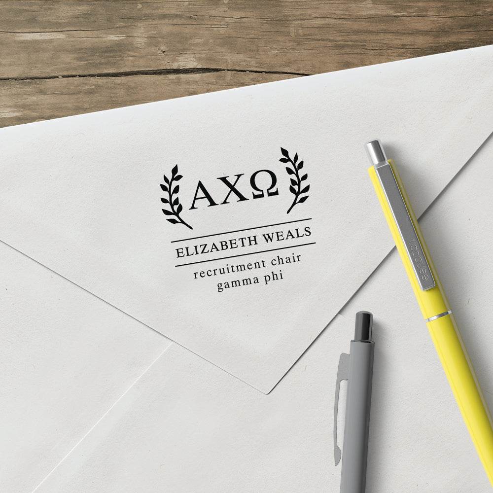 Alpha Chi Omega Wreath leaves Social Panhellenic Sorority Chapter Custom Designer Stamp Greek