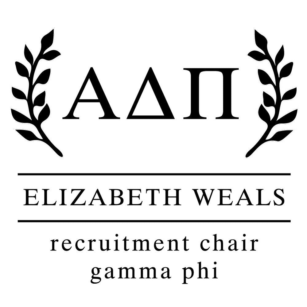 Alpha Delta Pi Wreath leaves Social Panhellenic Sorority Chapter Custom Designer Stamp Greek