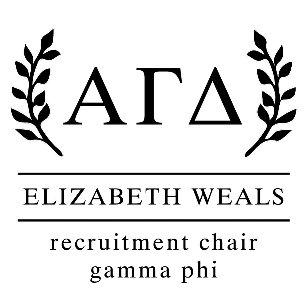 Alpha Gamma Delta Wreath leaves Social Panhellenic Sorority Chapter Custom Designer Stamp Greek