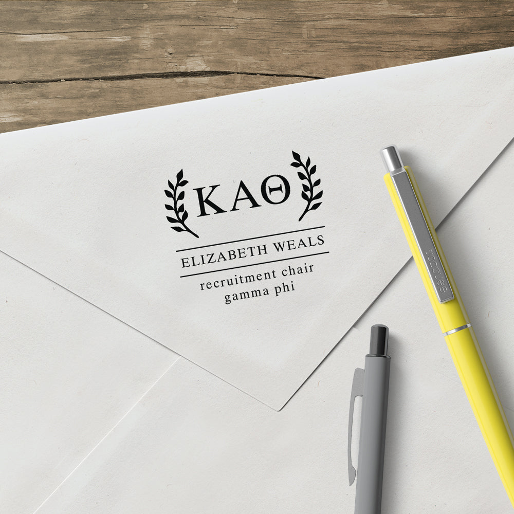 Kappa Alpha Theta Wreath leaves Social Panhellenic Sorority Chapter Custom Designer Stamp Greek