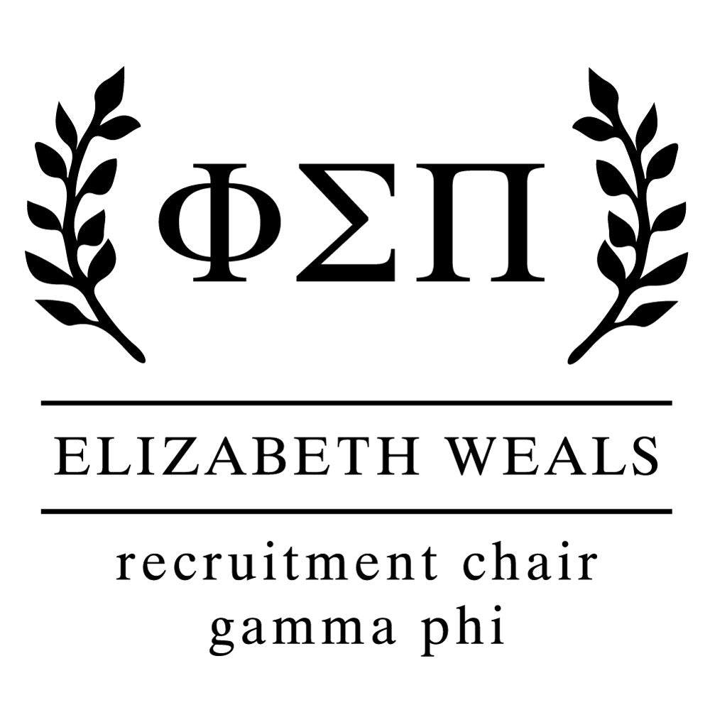 Phi Sigma Pi Wreath leaves Social Panhellenic Sorority Chapter Custom Designer Stamp Greek