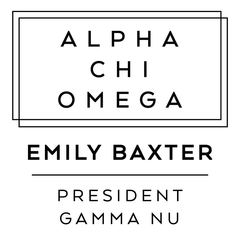 Alpha Chi Omega Deco Style Frame Social Panhellenic Sorority Chapter Custom Designer Stamp Greek