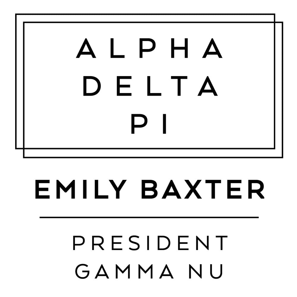 Alpha Delta Pi Deco Style Frame Social Panhellenic Sorority Chapter Custom Designer Stamp Greek