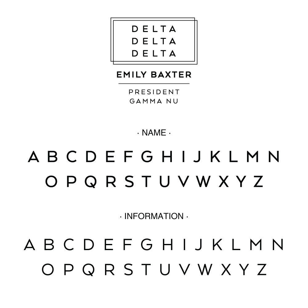 Delta Delta Delta Deco Style Frame Social Panhellenic Sorority Chapter Custom Designer Stamp Greek