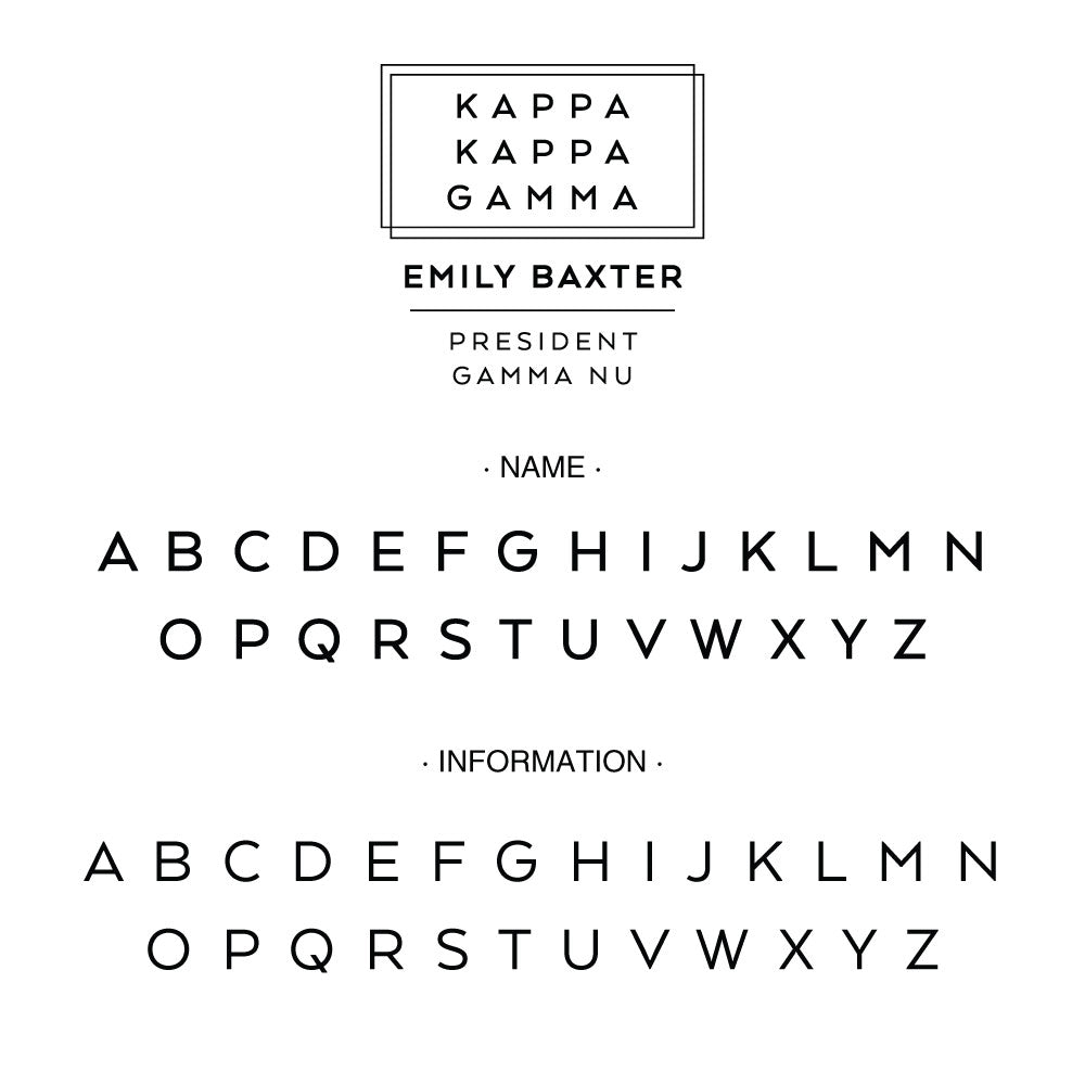Kappa Kappa Gamma Deco Style Frame Social Panhellenic Sorority Chapter Custom Designer Stamp Greek