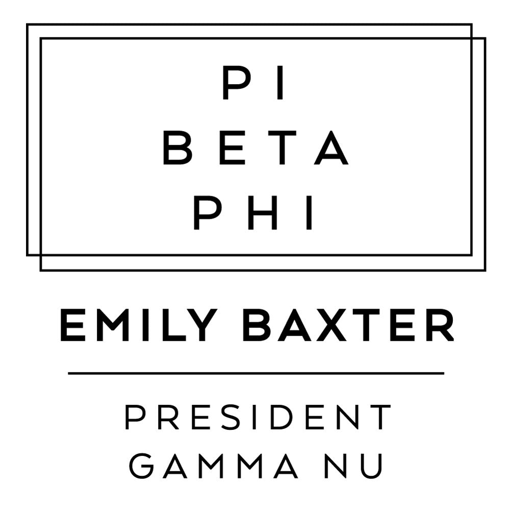 Pi Beta Phi Deco Style Frame Social Panhellenic Sorority Chapter Custom Designer Stamp Greek
