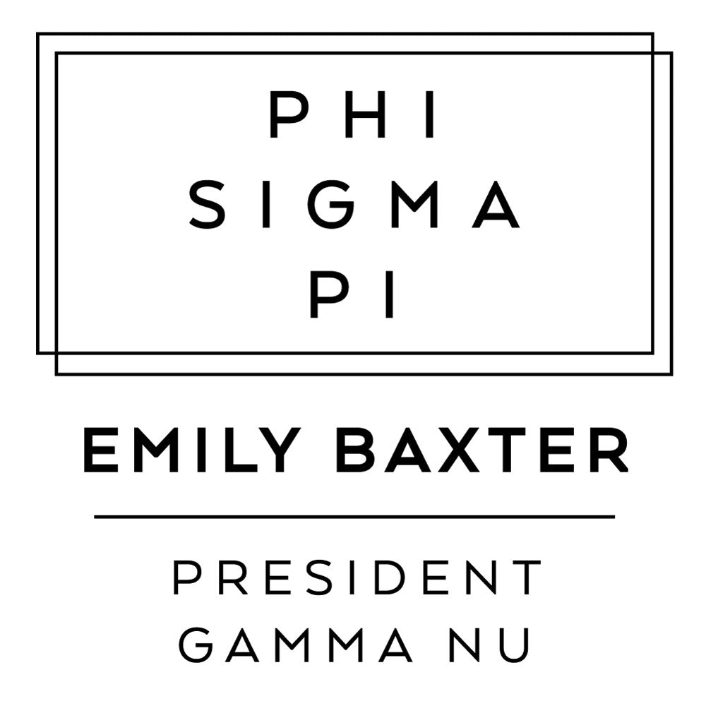 Phi Sigma Pi Deco Style Frame Social Panhellenic Sorority Chapter Custom Designer Stamp Greek