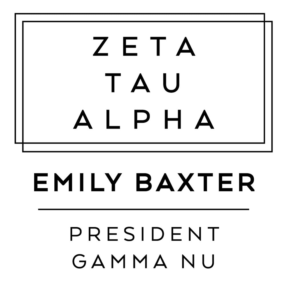 Zeta Tau Alpha Deco Style Frame Social Panhellenic Sorority Chapter Custom Designer Stamp Greek