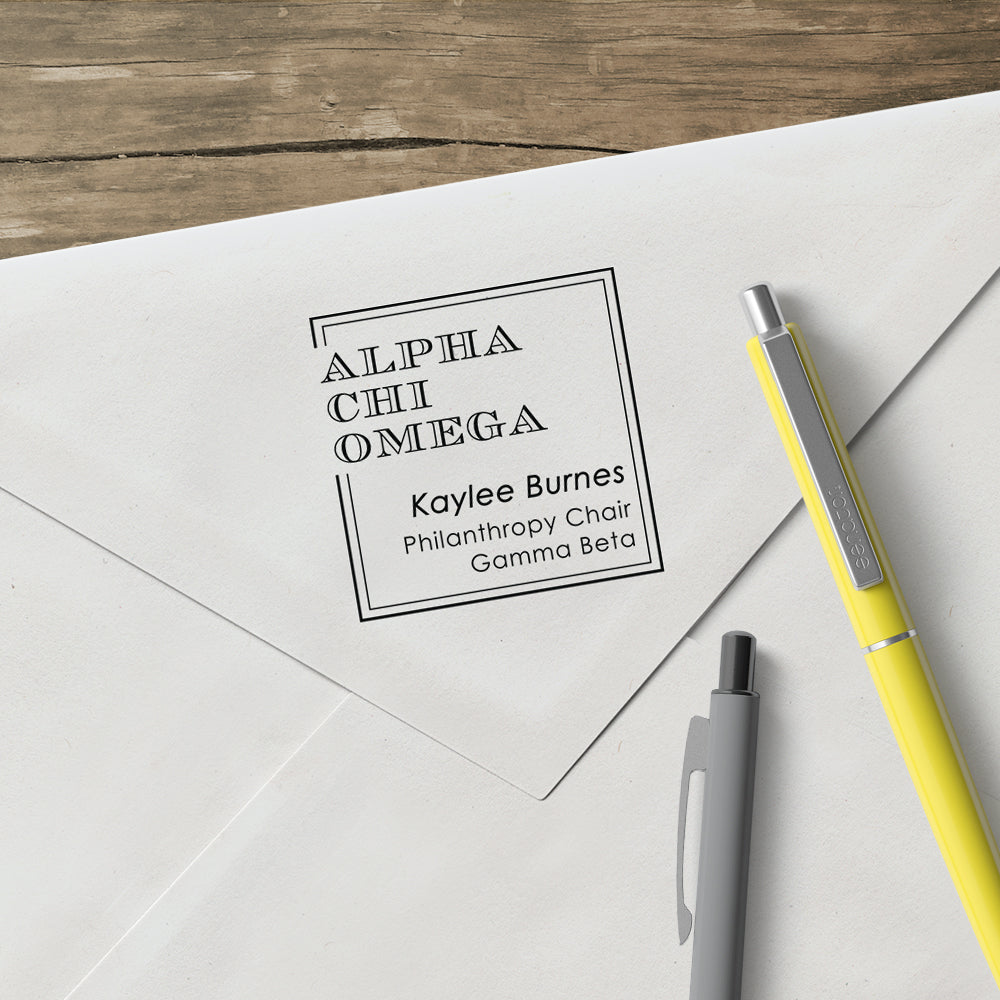 Alpha Chi Omega custom designer stamp square escorial sorority greek design