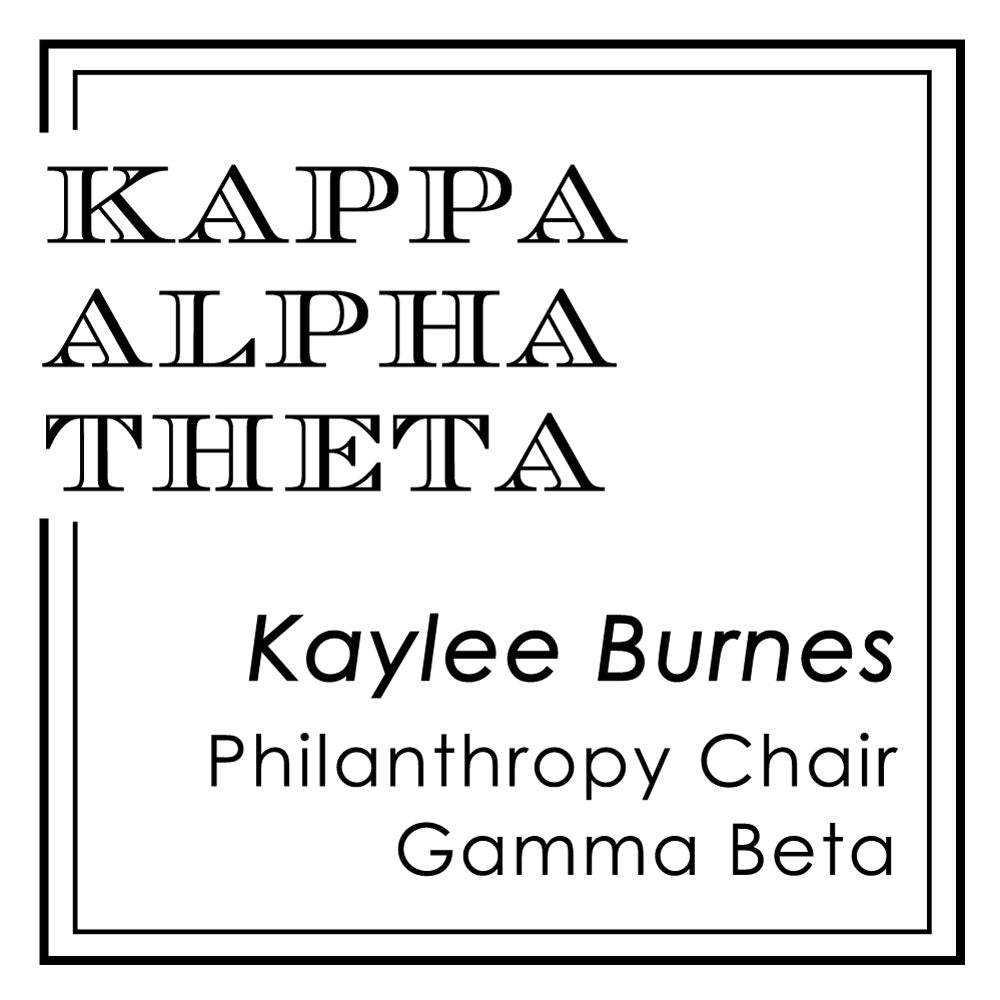 Square Kappa Alpha Theta Escorial Font Frame Social Panhellenic Sorority Chapter Custom Designer Stamp Greek
