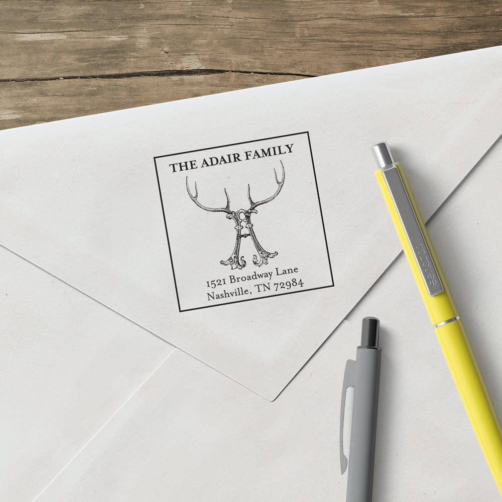 Square Alexa Pulitzer Antler Return Address Custom Designer Stamp