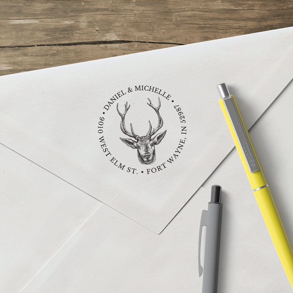 Round Alexa Pulitzer Antler Deer Name and Return Address Custom Designer Stamp