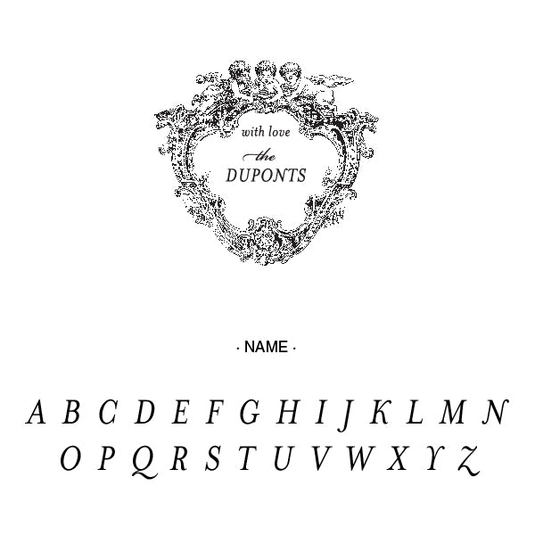 Alexa Pulitzer Cherubs With love Family Name Custom Designer Stamp Alphabet and Font Used