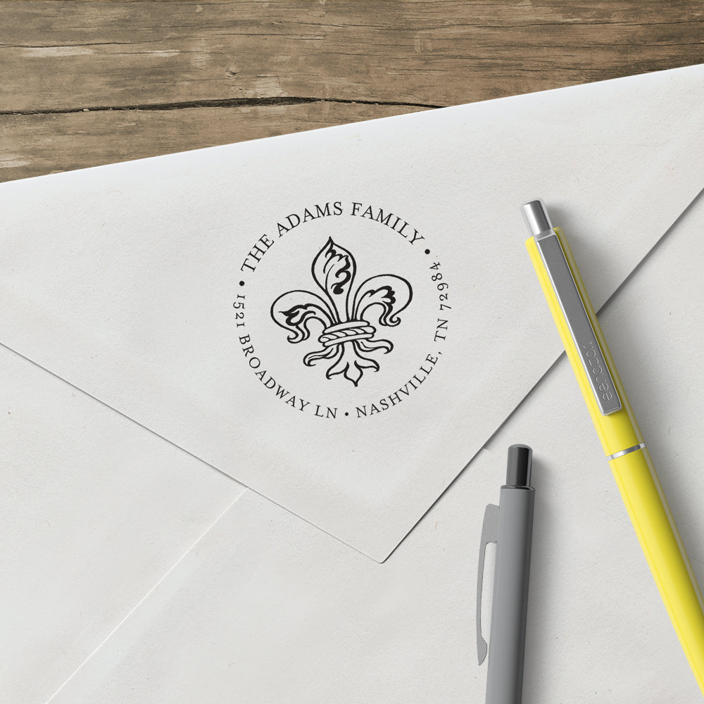 Round Alexa Pulitzer Fleur De lis Famiy Name and Return Address Custom Designer Stamp