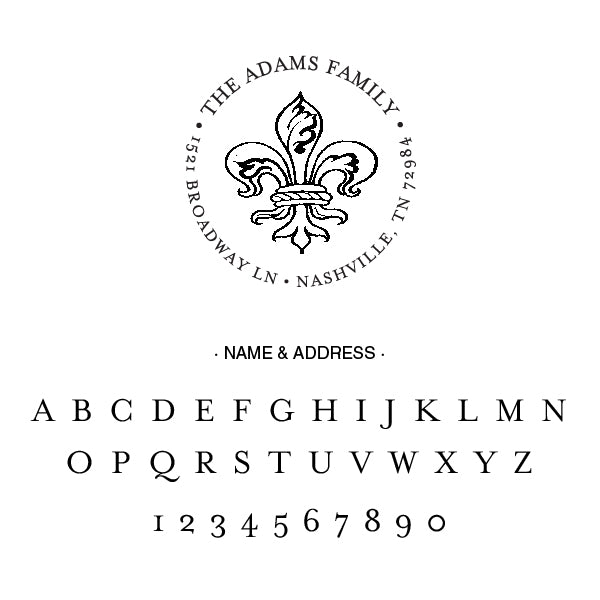 Round Alexa Pulitzer Fleur De lis Famiy Name and Return Address Custom Designer Stamp Alphabet and Font Used