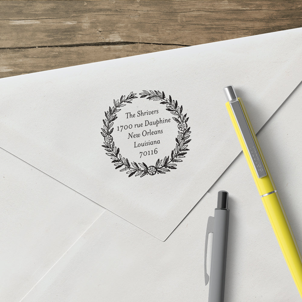 Round Alexa Pulitzer Family Name and Return Address Custom Designer Stamp