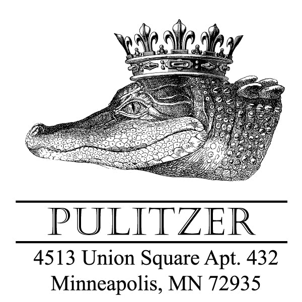 Alexa Pulitzer Alligator Crown Family Name Return Address Custom Designer Stamp