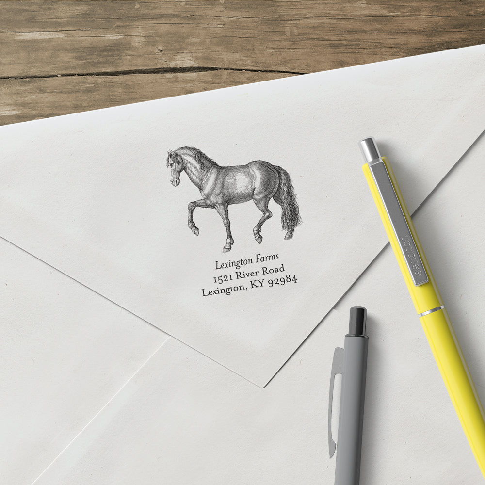 Alexa Pulitzer Horse Family Name Return Address Custom Designer Stamp