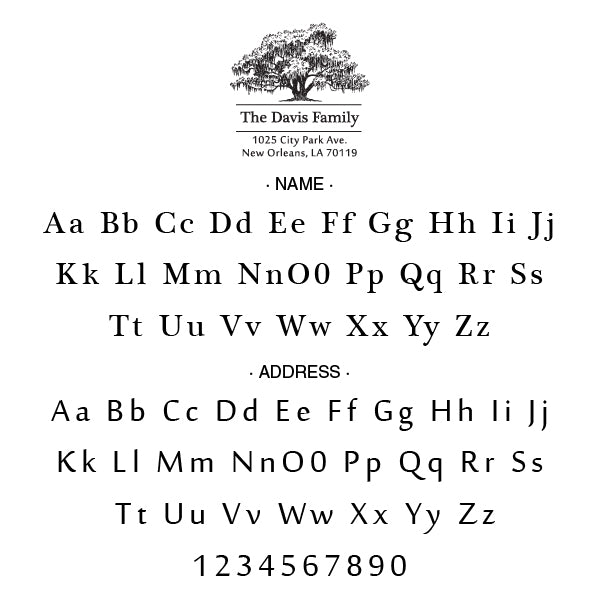 Alexa Pulitzer Tree Name Return Address Signature Custom Designer Embosser Alphabet and Font Used