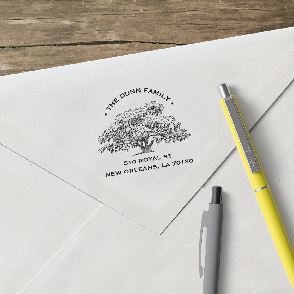 Alexa Pulitzer Tree Family Name Return Address Custom Designer Stamp