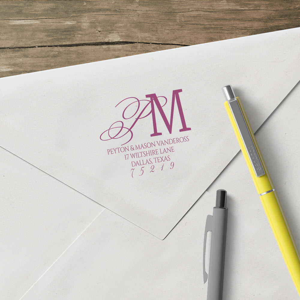 Return Address Two Letter Monogram Custom Designer Stamp