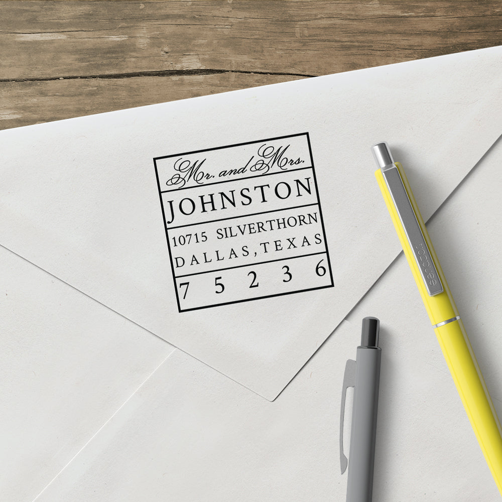 Square Mr and Mrs Return Address Couple Custom Designer Stamp