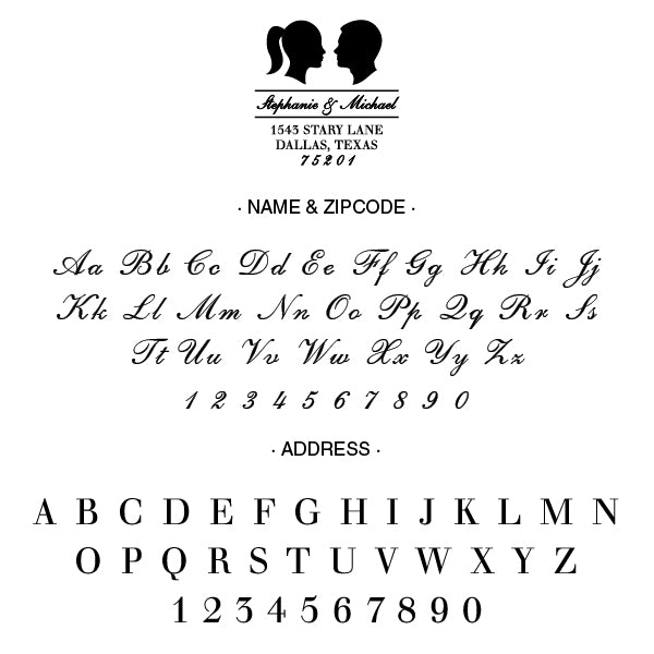 Couple Silhouette Name and Return Address Custom Designer Stamp Alphabet and Font Used
