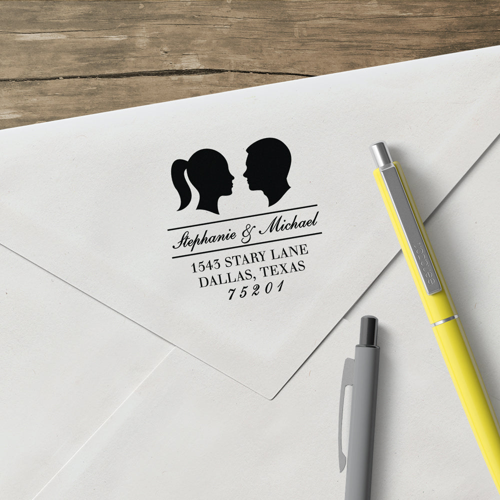 Couple Silhouette Name and Return Address Custom Designer Stamp