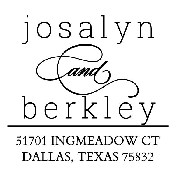 Square Couple First Names Custom Return Address Designer Stamp