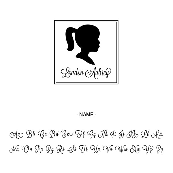Girl Silhouette Kids Name Custom Designer Stamp Alphabet and Font Used