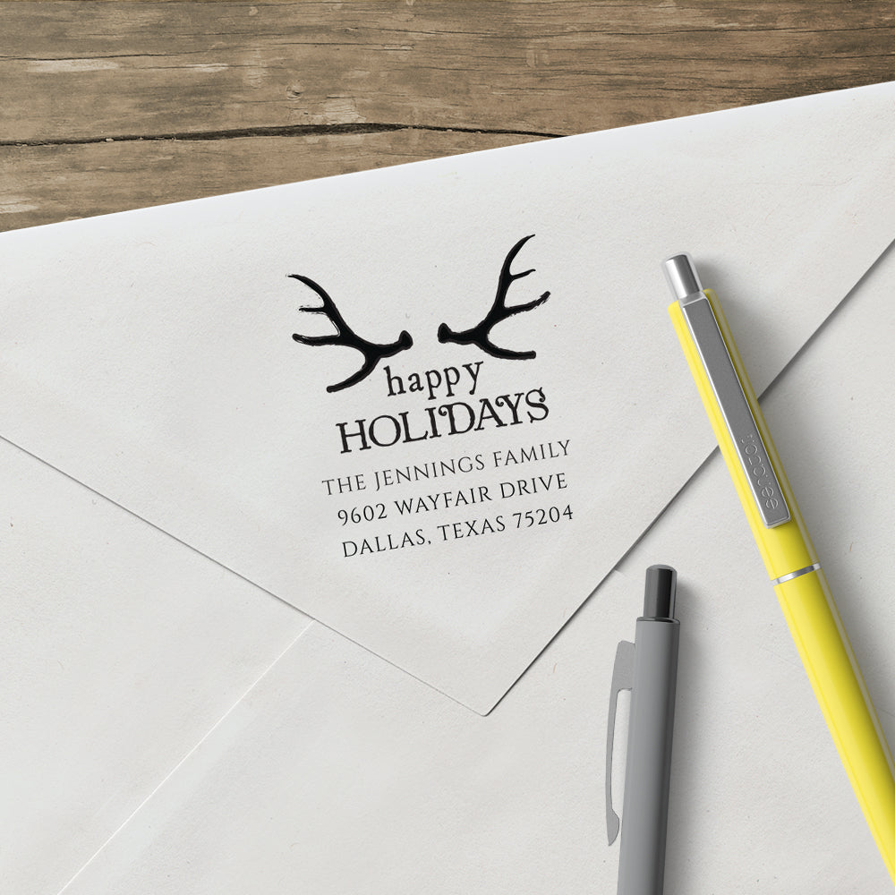 Happy Holiday Antlers Family Return Address Custom Designer Stamp