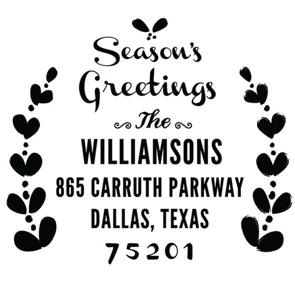 Holiday Seasons Greetings Family Return Address Custom Designer StampHoliday Ornaments Family Return Address Custom Designer Stamp