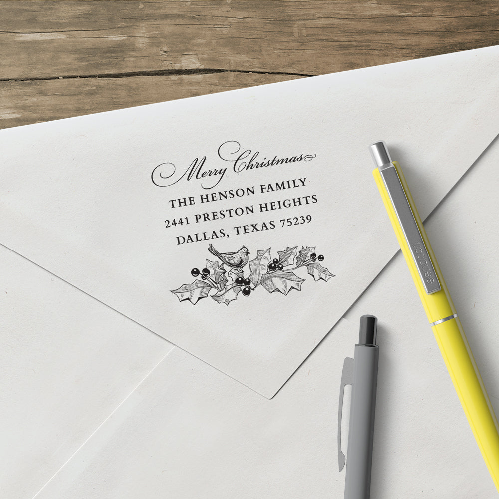 Holiday Merry Christmas Holy Leaf Bird Family Return Address Custom Designer Stamp
