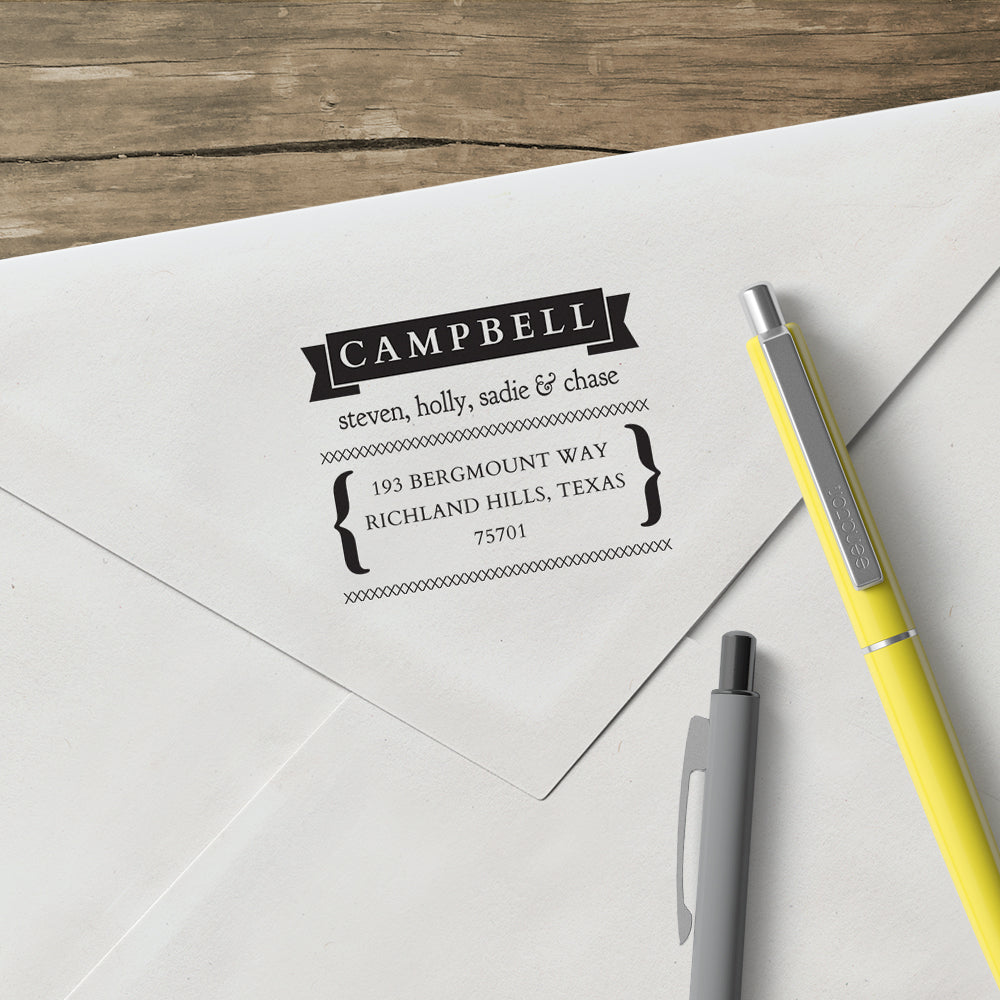 Holiday Family Return Address Custom Designer Stamp