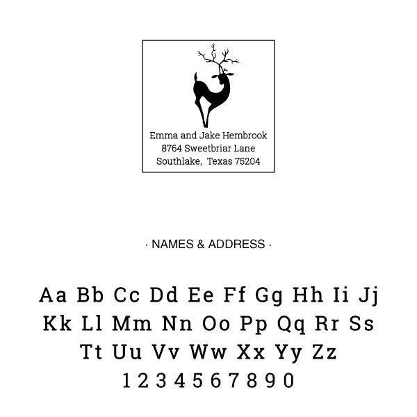 Holiday Reindeer Family Return Address Custom Designer Stamp