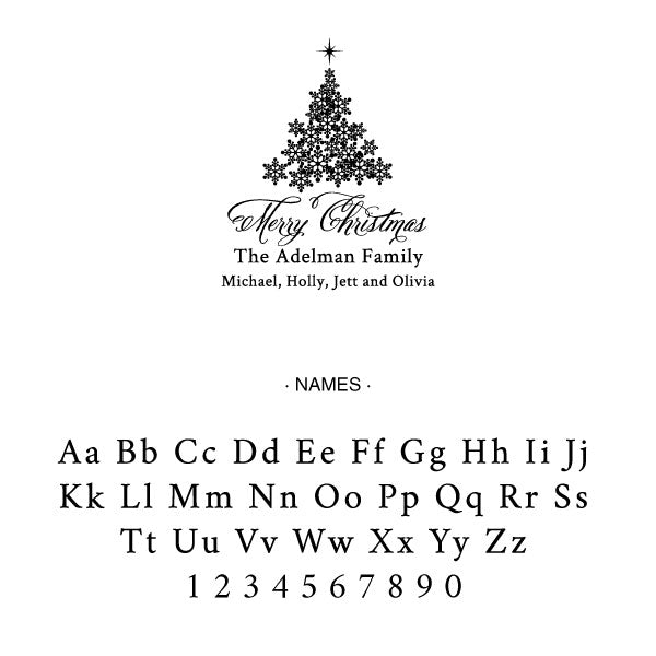 Holiday Merry Christmas Tree Family Return Address Custom Designer Stamp