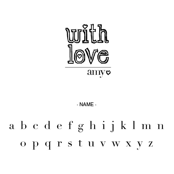 With Love Name Signature Custom Designer Stamp Alphabet and Font Used