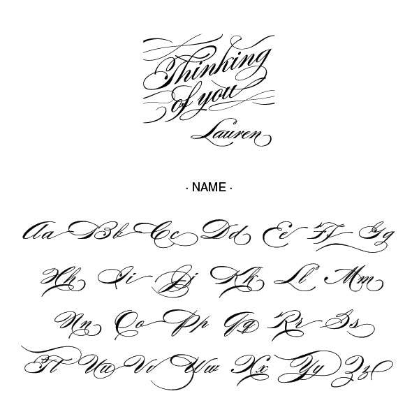 Thinking of You Name Signature Custom Designer Stamp Alphabet and Font Used
