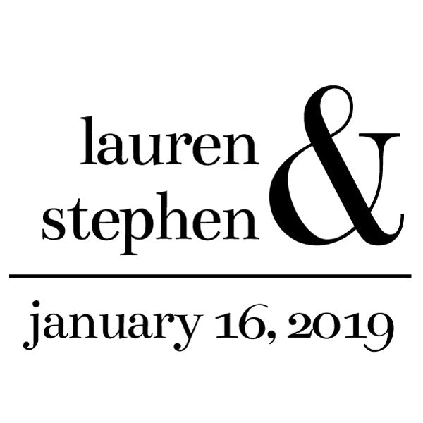 Square Wedding Couple Name and date Custom Designer Stamp
