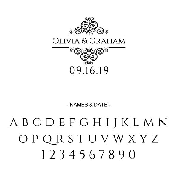 Name and Date Wedding Custom Designer Stamp
